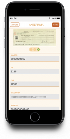 4Cheque APP screen with extracted data